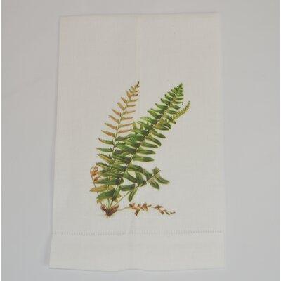 Hemstitched Shield Fern Linen Hand Towel (Set of 2)