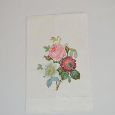 Hemstitched Anemone Clematis Linen Hand Towel (Set of 2)