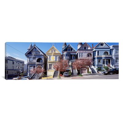 iCanvas Panoramic Cars Parked In front of Victorian Houses, San Francisco Photographic Print on Canvas