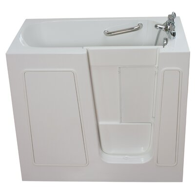 Small Long Air and Hydro Massage Whirlpool Walk-In Tub Drain Location: Right
