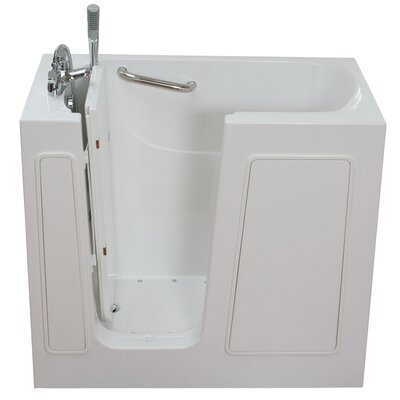 Small Long Air and Hydro Massage Whirlpool Walk-In Tub Drain Location: Left