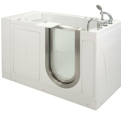 "52"" x 28"" Petite Massage Whirlpool Walk In Tub Door and Drain Location: Right"