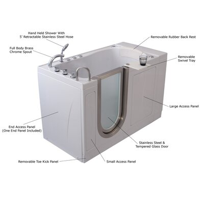"52"" x 28"" Petite Massage Whirlpool Walk In Tub Door and Drain Location: Left"