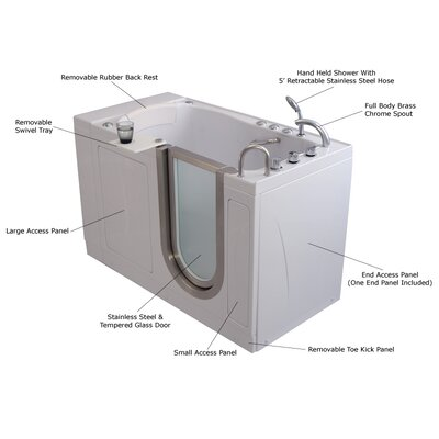 "Royal 52"" x 32"" Massage Whirlpool Walk In Tub Door and Drain Location: Left"