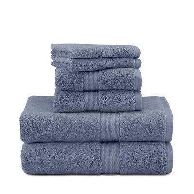 Under The Canopy Organic 6 Piece 100% Cotton Towel Set Color: Blue