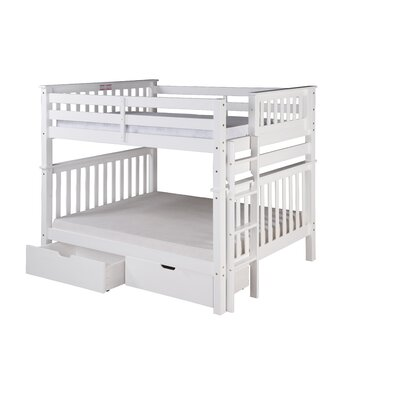Santa Fe Mission Tall Bunk Bed with Storage Color: White, Size: Twin Over Full