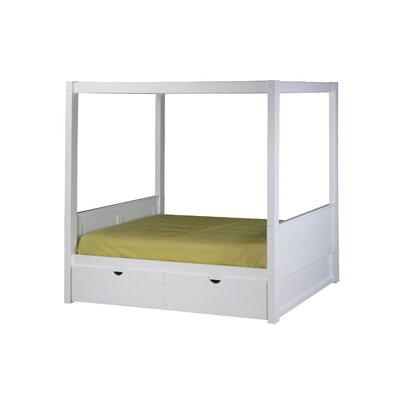 Mette Canopy Bed with Drawers Bed Frame Color: White, Size: Full