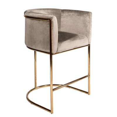 "Mira 26"" Bar Stool Color: Gold/Gray velvet, Size: 35.5"" H x 23.5"" W x 22"" D"