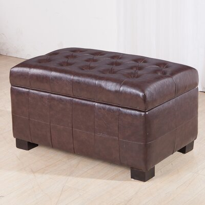 Castillian Leather Storage Bench Color: Espresso