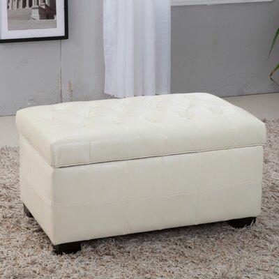 Castillian Leather Storage Bench Color: Creamy White