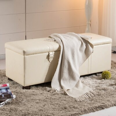 Castillian Upholstered Storage Bench Color: Creamy White