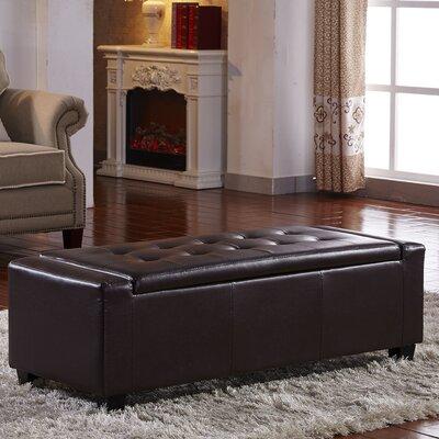 Contemporary Leather Storage Bench Color: Espresso