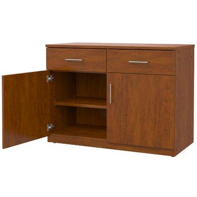 Mobile CaseGoods 2 Door Storage Cabinet Trim Color: Black, Frame Color: Solar Oak