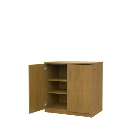 Mobile CaseGoods 2 Door Storage Cabinet Door Option: Locking, Color: Solar Oak/Solar Oak