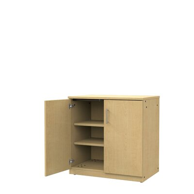 Mobile CaseGoods 2 Door Storage Cabinet Door Option: Locking, Color: Fusion Maple/Fusion Maple