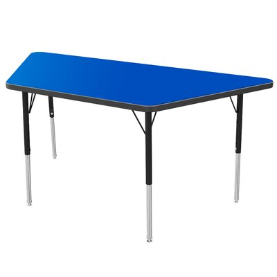 "48"" x 24"" Trapezoidal Activity Table Tabletop Color: Gray Glace, Size: 30"" H x 24"" W x 48"" D, Side Color: Red"