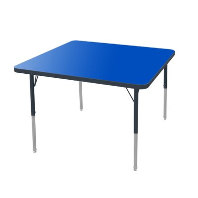 """48"""" Square Activity Table Tabletop Color: Gray Glace, Size: 30"""" H x 48"""" W x 48"""" D, Side Color: Black"""