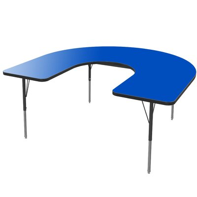 "66"" x 60"" Horseshoe Activity Table Tabletop Color: Gray Glace, Size: 30"" H x 60"" W x 66"" D, Side Color: Blue"