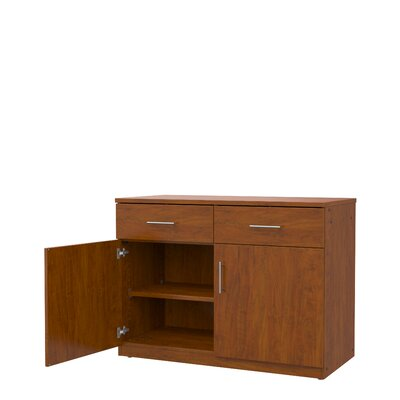 Mobile CaseGoods 2 Door Storage Cabinet Frame Color: Fusion Maple, Trim Color: Fusion Maple