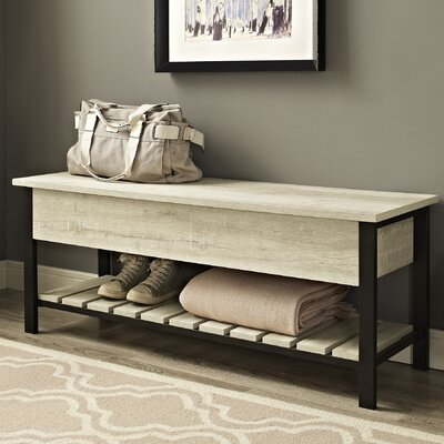 Savon Open-Top Wood Storage Bench Color: White Oak