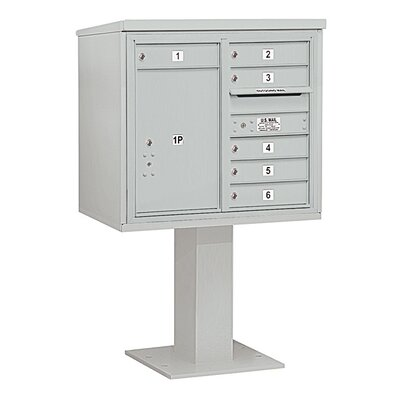 6 Door Front Load 4C Horizontal Cluster Box Unit with 1 Parcel Locker Color: Gray