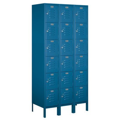 "6 Tier 3 Wide Employee Locker Size: 78"" H x 36"" W x 15"" D, Color: Tan, Assembly: Unassembled"