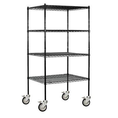 "Wire 4 Shelf Shelving Unit Mobile Finish: Chrome, Size: 80"" H x 60"" W x 18"" D"
