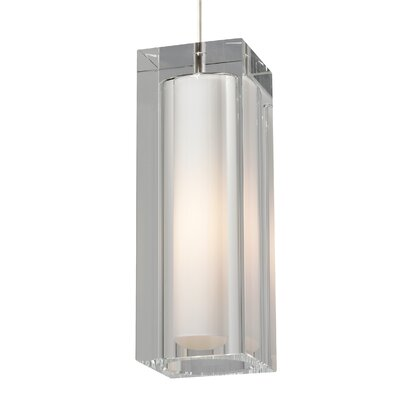 1-Light Square/Rectangle Pendant Finish: Satin Nickel, Color: Clear, Bulb Type: BT15 LED 80 CRI 2700K 120V