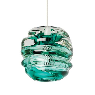 "Audra 1-Light Pendant Finish: Black, Shade Color: Surf Green, Size: 5.9"" L x 5.3"" W"
