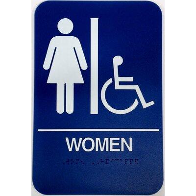 Women's Handicap Restroom Sign Color: Blue