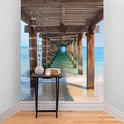 The Binary Box Wooden Beach Walkway Self Adhesive Wallpaper
