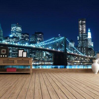 The Binary Box Manhattan Bridge at Night Self Adhesive Wallpaper