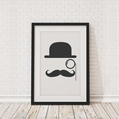 The Binary Box Bowler Hat Moustache Framed Graphic Art