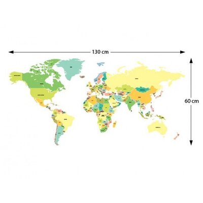 The Binary Box Labelled World Map Wall Stickers