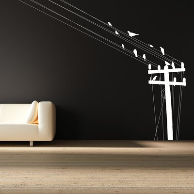 The Binary Box Telegraph Pole Birds Wall Sticker