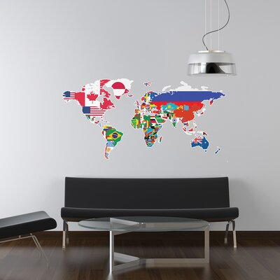 The Binary Box Flags of the World Map Wall Sticker