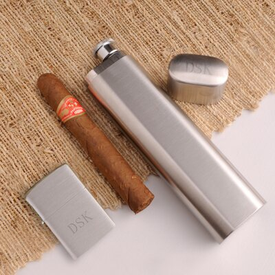 Personalized Gift Cigar Case Flask
