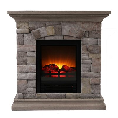 Portable Faux Stone Electric Fireplace
