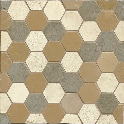 "2"" x 2"" Limestone Mosaic Tile in Brown"