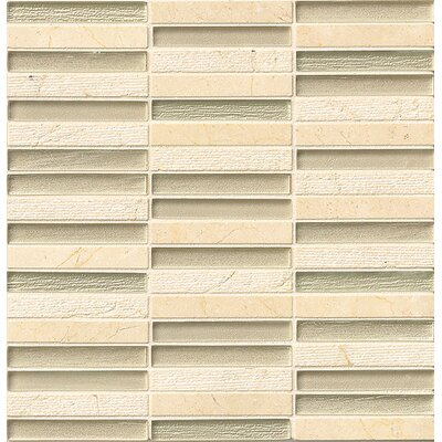 "Tessuto 0.5"" x 4"" Stone and Glass Mosaic Tile in Beige"