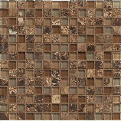 "Interlude 0.75"" x 0.75"" Stone and Glass MosaicTile in Duet"