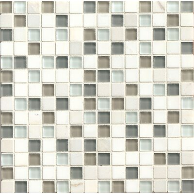 "Interlude 0.75"" x 0.75"" Stone and Glass Mosaic Tile in Harmony"