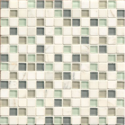 "Interlude 0.75"" x 0.75"" Stone and Glass MosaicTile in Minuet"