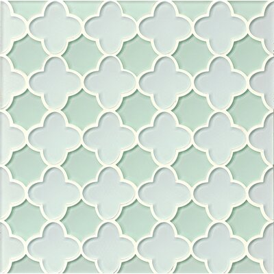 La Palma Glass Flora Mosaic Tile in White / Shoreline