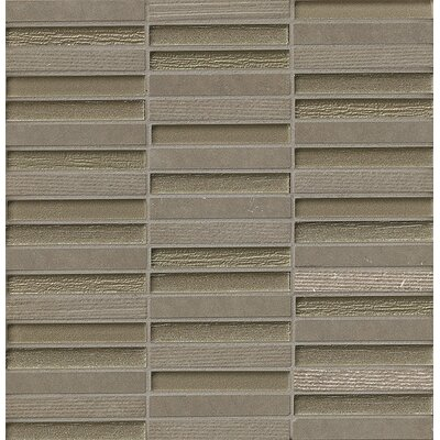 "Tessuto 0.5"" x 4"" Stone and Glass Mosaic Tile in Gray"