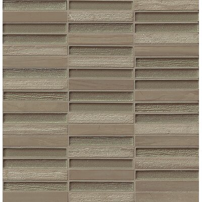 "Tessuto 0.5"" x 4"" Stone and Glass Mosaic Tile in Taupe"