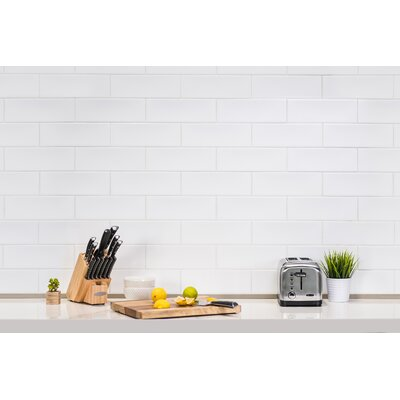 "Leila 4"" x 12"" Ceramic Subway Tile in White"