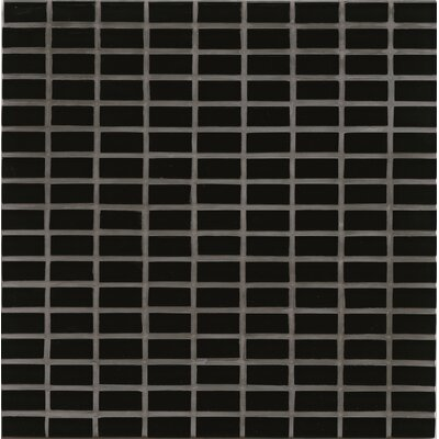 "Harbor Glass 11"" x 11"" Glass Gloss Mosiac Mini Brick in Black Sand"