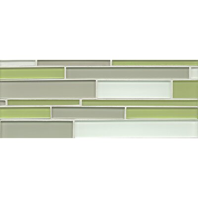 "Harbor Glass 6.5"" x 16"" Glass Gloss Mosaic Random Interlocking Blend in Greenery"