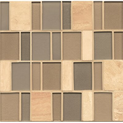 Remy Glass Mosaic Brick Slate/Glass Blend Tile in Tinsley